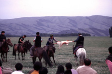 "Playing ""goat polo"", Inner Mongolia, People's Republic of China."